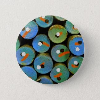 Industrial peacock 6 cm round badge