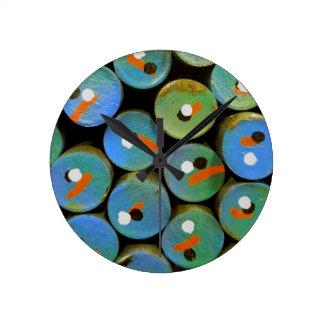 Industrial peacock round clock