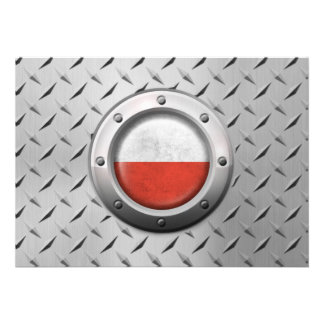 Industrial Polish Flag with Steel Graphic Custom Announcements