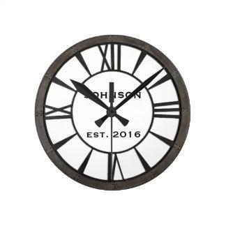 Industrial riveted metal-look custom design round clock