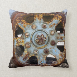 Industrial Rust: Spokes, Photography Cushion