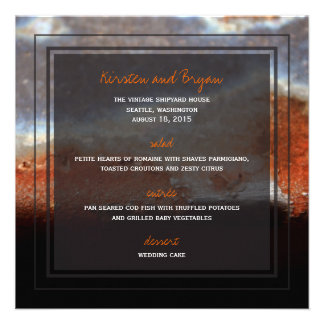Industrial Rust Steel Grunge Photo Wedding Menu Personalized Invitation