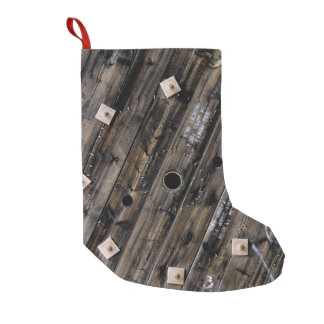 Industrial Rustic Wood Small Christmas Stocking