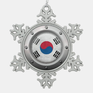 Industrial South Korean Flag Steel Graphic Pewter Snowflake Decoration