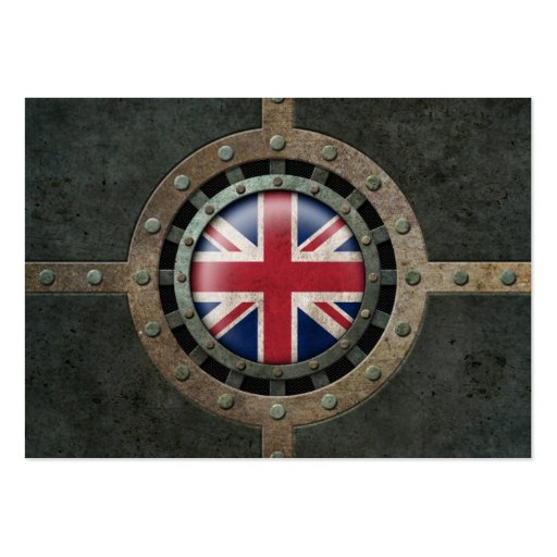 Industrial Steel British Flag Disc Graphic Business Cards