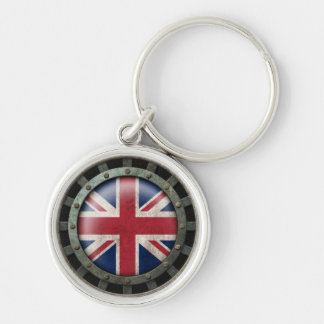 Industrial Steel British Flag Disc Graphic Key Chains