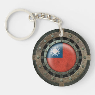 Industrial Steel Taiwanese Flag Disc Graphic Double-Sided Round Acrylic Key Ring