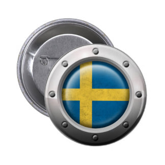 Industrial Swedish Flag with Steel Graphic Button