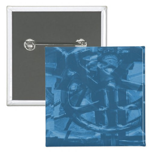 Industrial Themed Abstract Design in Blue. Pinback Button