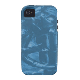 Industrial Themed Abstract Design in Blue Case-Mate iPhone 4 Covers
