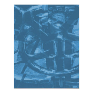 Industrial Themed Abstract Design in Blue. Personalized Invite