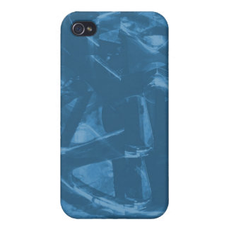 Industrial Themed Abstract Design in Blue iPhone 4/4S Cases