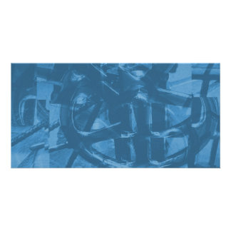 Industrial Themed Abstract Design in Blue. Picture Card