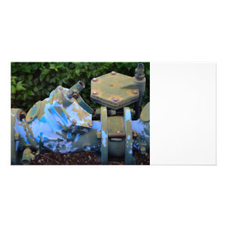 industrial valve blue paint flake steampunk personalized photo card