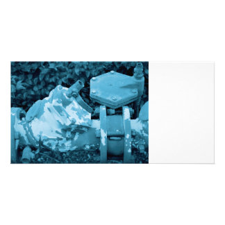 industrial valve blue steampunk image photo cards