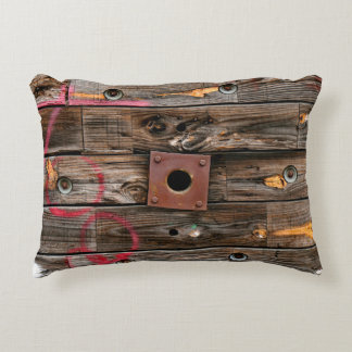 Industrial Wood Rustic Wooden Wire Spool Decorative Cushion
