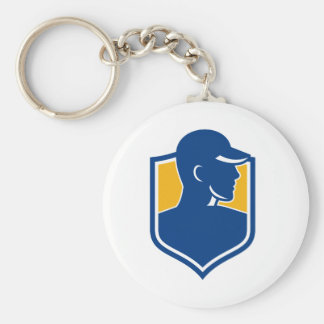 Industrial Worker Crest Icon Key Ring