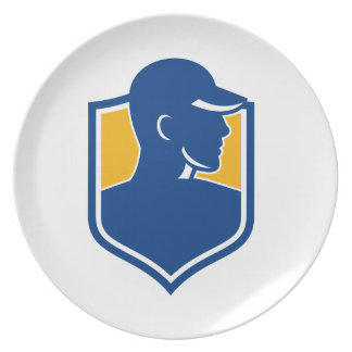 Industrial Worker Crest Icon Plate