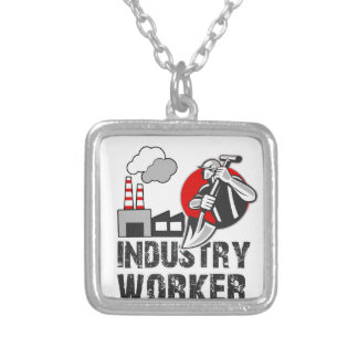 Industry worker silver plated necklace
