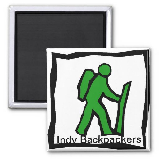 Indy Backpackers Square Magnet