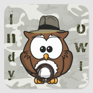 Indy owl square sticker