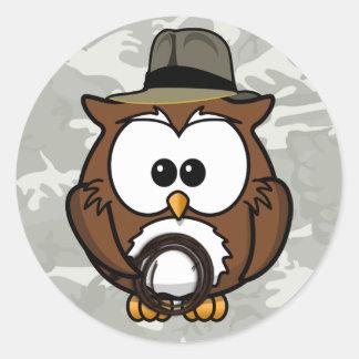 Indy owl round sticker