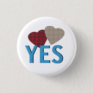 Indy Tartan Hearts Scottish Independence Pinback 3 Cm Round Badge