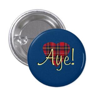 #indyref Tartan Heart Yes Scotland Pinback 3 Cm Round Badge