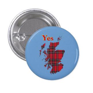 #indyref Tartan Yes Scotland Pinback 3 Cm Round Badge