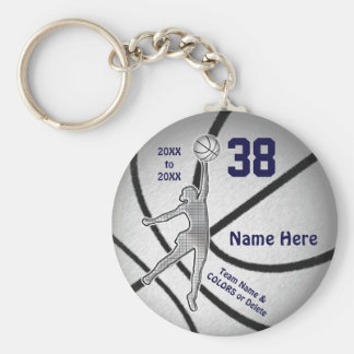 Inexpensive Girls Basketball Gifts, 4 Text Boxes Basic Round Button Key Ring