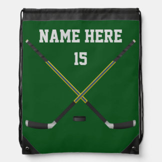 Inexpensive Hockey Backpacks, Your Text, Colors Drawstring Bag