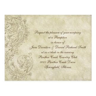 Inexpensive  vintage damask Wedding Reception card Postcard