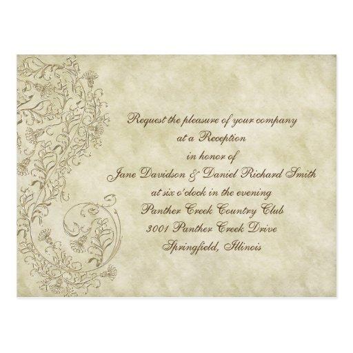 Inexpensive  vintage damask Wedding Reception card Post Cards