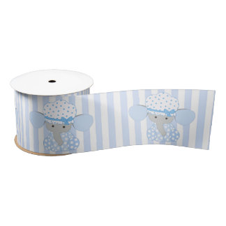 Infant Baby Boy Blue Elephant w/blue Stripes Satin Ribbon