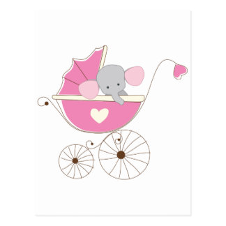Infant Baby Girl Pink Elephant Postcard