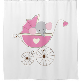 Infant Baby Girl Pink Elephant Shower Curtain