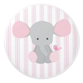 Infant Baby Girl Pink Elephant w/Stripes Ceramic Knob