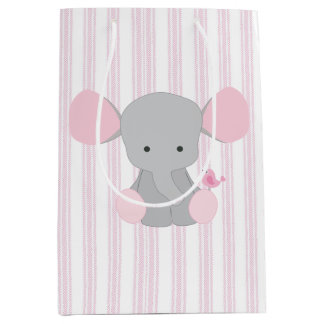 Infant Baby Girl Pink Elephant w/Stripes Medium Gift Bag