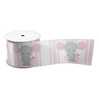 Infant Baby Girl Pink Elephant w/Stripes Satin Ribbon