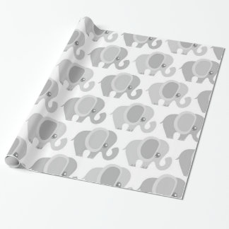 Infant Baby Neutral Gray Elephant Shower Gift Wrapping Paper