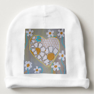 Infant Hat Heart and Daisies Baby Beanie