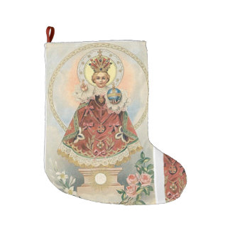 Infant Jesus of Prague w Roses Large Christmas Stocking