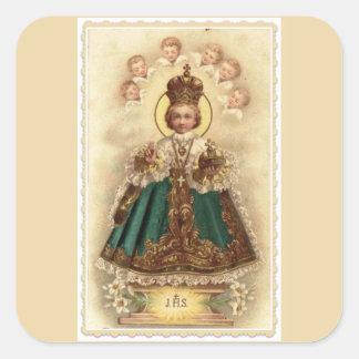 Infant Jesus of Prague with Cherub Angels Square Sticker