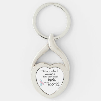 Infant loss awareness heart keychain Silver-Colored twisted heart key ring