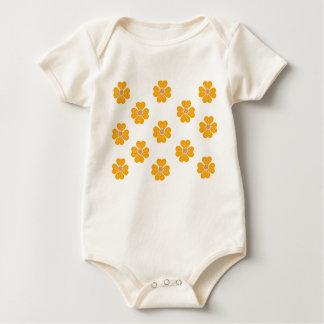 Infant Organic Creeper Baby Yellow Heart Flowers