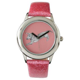 Infantile wristwatch of purplish rose