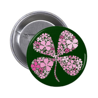 Infinitely Lucky Pink Clover 6 Cm Round Badge