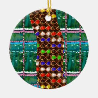 Infinity ART on Emerald Green CRYSTAL Stone Base Christmas Tree Ornaments