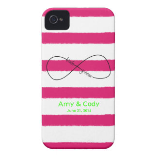 Infinity Bride & Groom Wedding Customizable iPhone 4 Case-Mate Cases