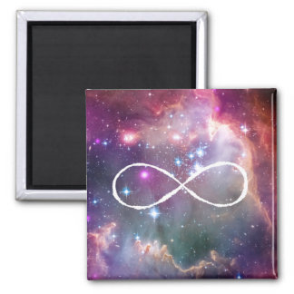 Infinity loop and galaxy space hipster background square magnet